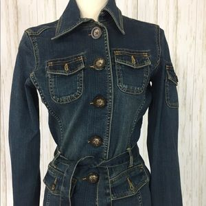 Jean Jacket Denim pocket button down belt collar